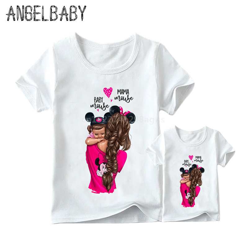 Super Mom And Daughter Print Matching Family Outfits Korean Fashion Harajuku Kawaii White Mom Daughter Clothes Girls T-shirt