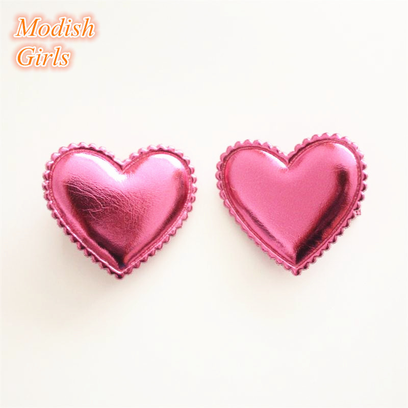 Love Heart Design Shinning PU Hair Clips 30pcs/lot Synthetic Leather Girls Barrettes Bestseller Felt Kids Cheap Cute Hairpins