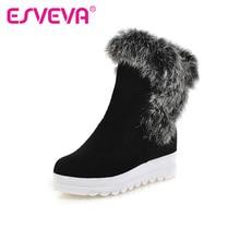 ESVEVA 2016 Fashion Warm Fur Winter Shoes Women Scrub Snow Boots Wedge Med Heel Ankle Boots Women Short Plush Boot Size 34-43