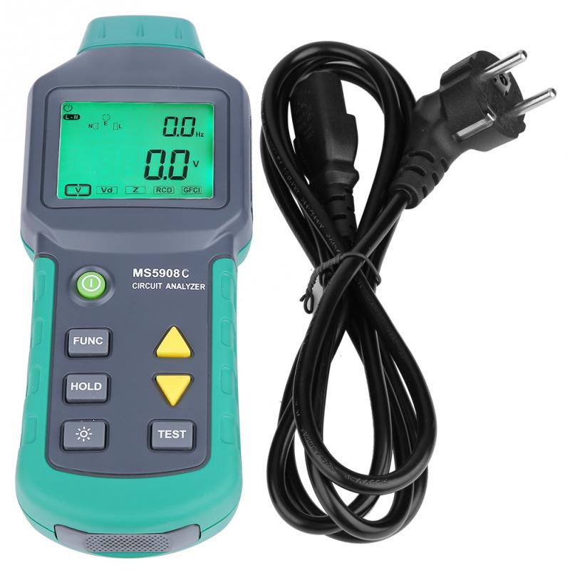 LCD Circuit Analyzer AC100-240V MASTECH MS5908A/MS5908C LCD Circuit Analyzer With Voltage GFCI RCD Tester mastech ms5908 serial rms circuit analyzer tester compared w ideal sure test socket tester ms5908c eu plug