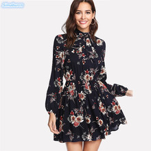 Autumn Floral Women Dress Multicolor Long Sleeve High Waist Loose Elastic Waist Elegant Dress Female Tie Neck Spring Dresses 2XL