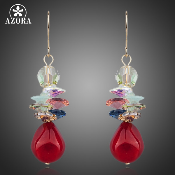 AZORA Red Grapes Gold Color Water Drop Stellux Austrian Crystal Drop Earring TE0084