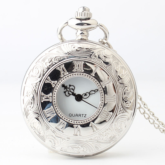Drop Shipping Mens Women Vintage Silver Fob Watch Hollow Carving Quartz Pocket Watches Casual Black Analog Watch For Gift