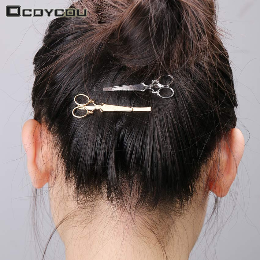 6 PCS Hot Gold Silver Scissors Pattern Hair Clip Hair ...