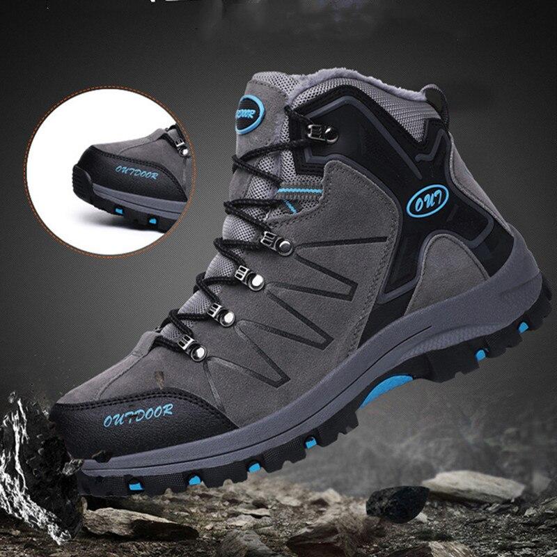 Sapatos de Couro à Prova Sapatos de Escalada Populares ao ar Sapatos de Alta Botas de Inverno Homens Caminhadas Dwaterproof Água Pesca Sapatos Novos Livre Superior &