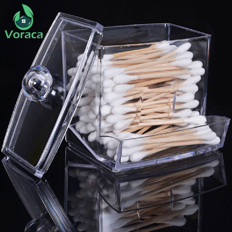 Transparent Acrylic Cotton Swabs Sticks Box Holder Cosmetic Storage Box Makeup Organizer Case Portable Cotton Pads Container