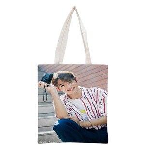 Новое поступление на заказ KPOP NCT Lucas печатная Холщовая Сумка-тоут женская сумка пляжная Дорожная сумка Портативная сумка для покупок