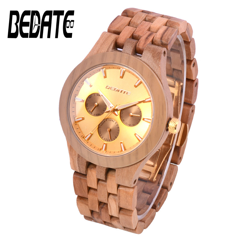 Men Watches Wooden Watches with Wood Strap BEWELL Brand Fashion Quartz Wristwatch Box for Male Watch Family Christmas Gift 145A