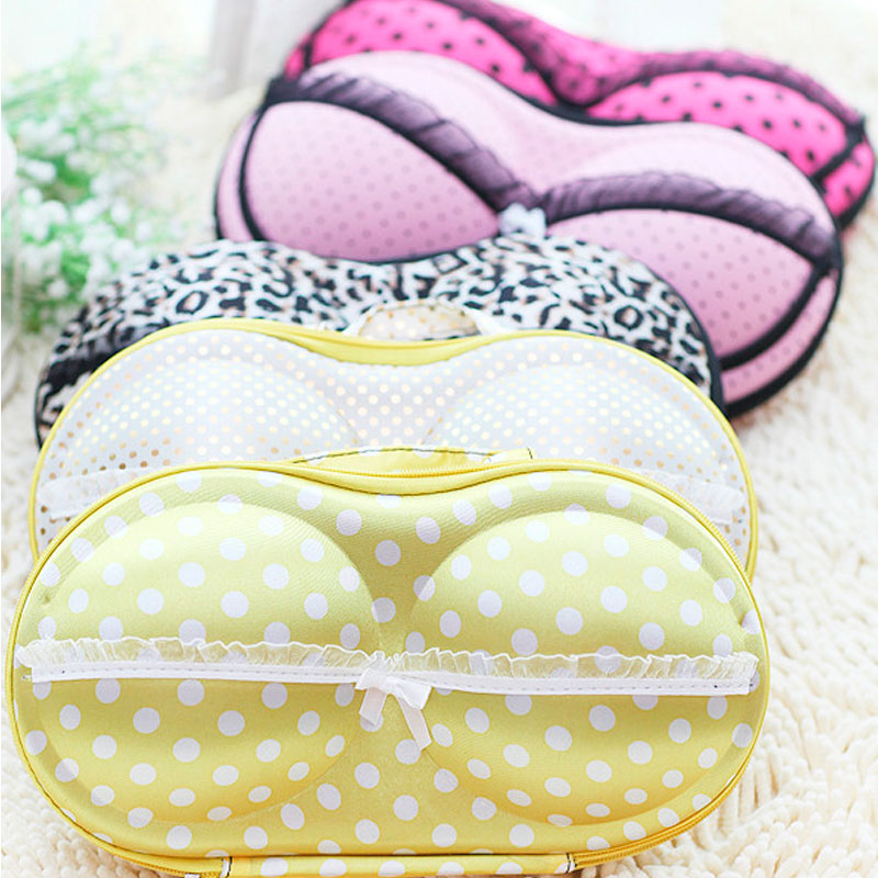 HOT Stylish Safe Soft Portable Lingerie Storage Box Sexy Lady s Colorful Bra Chest Bag Underwear