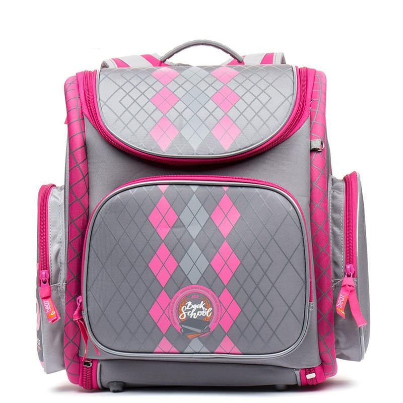 Russian Grizzly Children School Bags Girls 3D Flower Print Nylon Orthopedic Backpack School Portfolio Schoolbag Mochila Escolar
