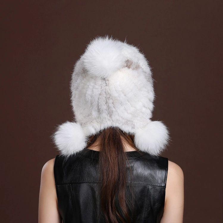 Chapeau Hiver fourrure de vison en tricot