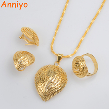 Anniyo Newest Ethiopian Necklace Earrings Ring Jewelry sets Gold Color African Eritrean Wedding Habesha Gifts #062906
