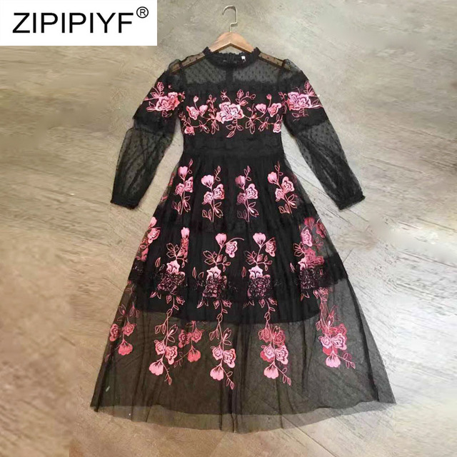2019 Top Selling Products Women Dress Knee-Length Full Sleeve O-Neck Print Floral Sexy Long Dresses for Party Wedding K018