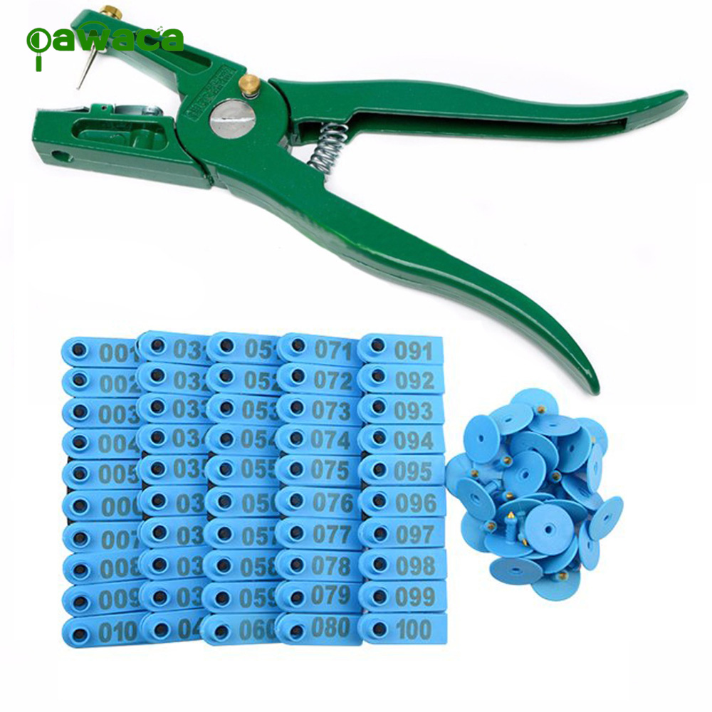 Animal Ear Tag Pliers With Spare Pins,1-100 Number Plastic Livestock Cow Cattle Ear Tag Animal Tag And Ear Tag Applicator