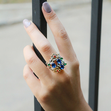 Oval Blue stone CZ Ring Mix Colorful cubic zirconia Jewellery Hollow Flower Womens Fashion Copper Jewelry Cocktail rings