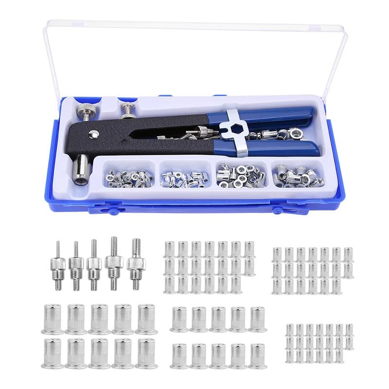 86 pçs M3-M8 porcas de rebite cego com rosca inserção rebite ferramenta rebitador arma com rivnut nutsert rebitagem kit ferramentas reparo doméstico