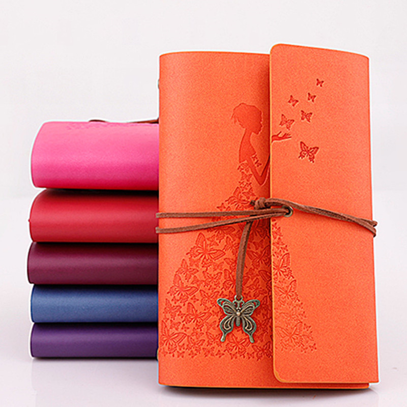 New Diary Book Notebook Butterfly Girl Note Book Replaceable Traveler Notepad Book PU Leather Cover Blank Notebook Journal Diary mariyana vintage notebook journal diary magic key string retro leather note book diary notebook leaf leather cover blank