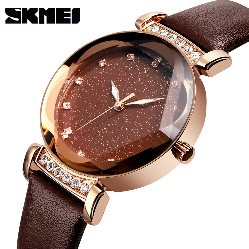 SKMEI Casual Crystal Leather Wristwatches Luxury Brand Women Watches Ladies Stainless Steel Waterproof Quartz Watch Cut Geometry