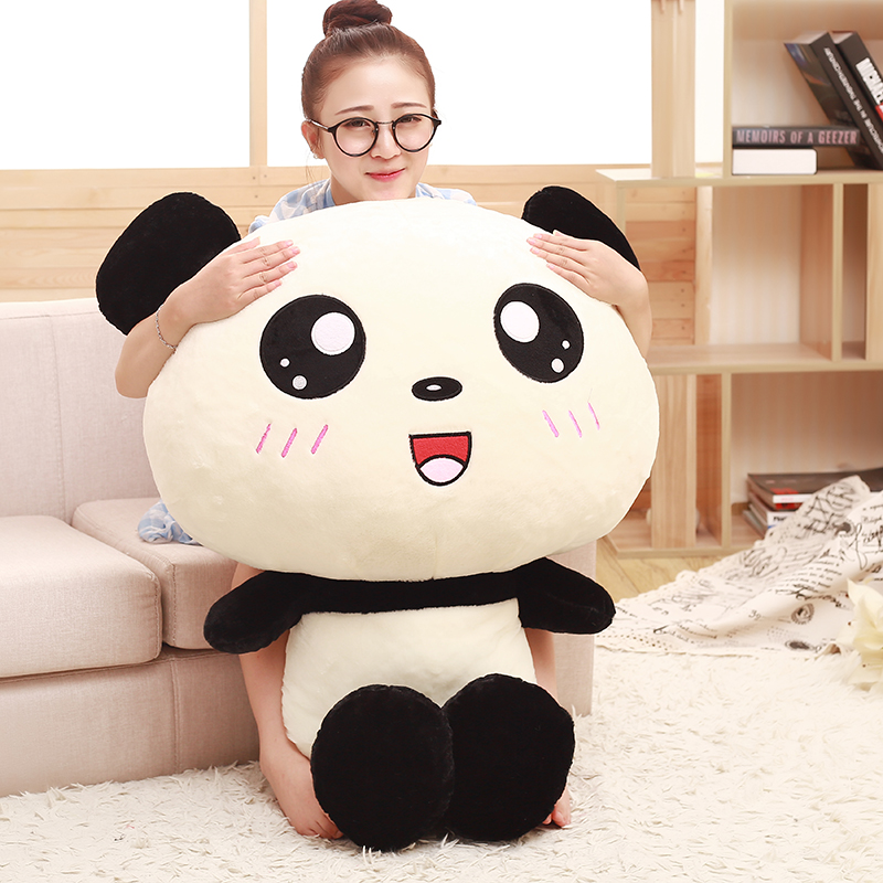 70cm;90cm Lovely Big Head Panda Plush Toy Stuffed Soft Animal Doll Cute Cartoon Soft Cushion Pillow Best Gift for Children new lovely plush panda toy stuffed sitting panda doll gift about 60cm