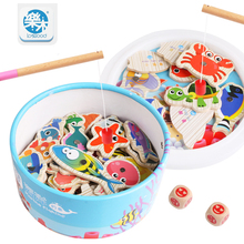 Logwood 2017 newest Wooden Magnetic child Fishing toy 60pcs fishing toys Montessori early learning toy gifts Free shipping