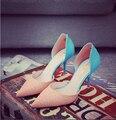 Корейский Дизайн Моды Известная Марка Леди Точка Toe Туфли Элегантный женщина Среднего Пятки 6.5 см Свадебные Насосы девушки Сексуальный Ботинок ML3054