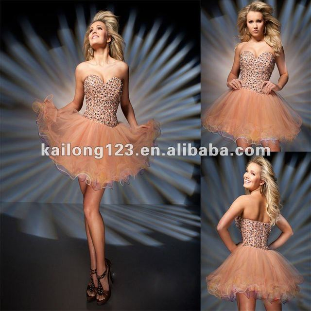 2db16856014 New Style Sweetheart Short A-line Coral Beaded Sequins Layered Tulle Party  Dress