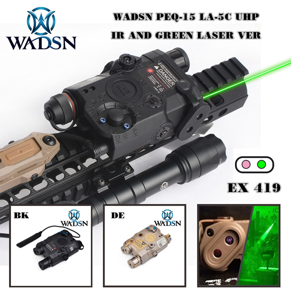 WADSN Airsoft Tactical Flashlight PEQ15 LA5 UHP Appearance Green IR Laser With LED Light LA 5C