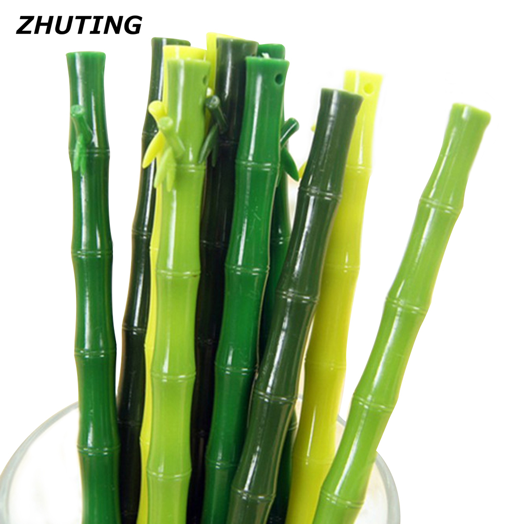 ZHUTING 0.38mm Black Refill Pens Realistic Bamboo Shape Gel Writing Pen Office School Supplies