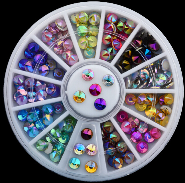 PTYY Hot colorful AB Glitter Pointed Top Acrylic Rhinestone in wheel decoration for nail art tool 120PCS 12different AB Colorful 2015 colorful acrylic nail glitter wheel glitter gold plated nail art jewelry women fingernail decoration supply wy165