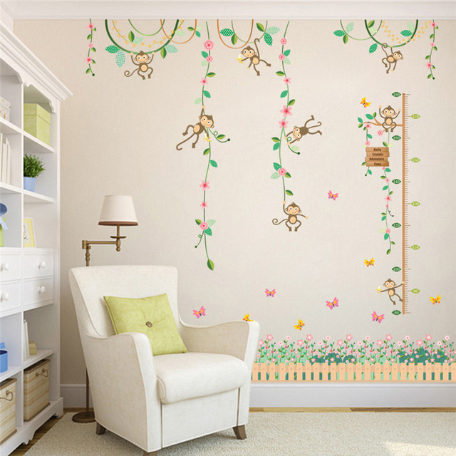 Garden Monkeys Height Measure Wall Stickers For Kids Rooms Butterfly fence  flower Height chart 3d Nursery Room Decor Poster 833416fa99cc