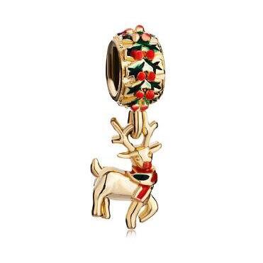 Fit Pandora charm bracelets Rudolph Reindeer Dangle Charm Bracelet Spacer 22 K Golden beads for jewelry making