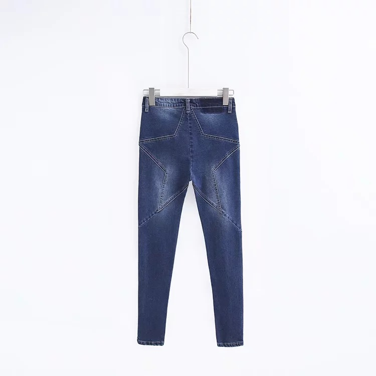 Azul Vintage azul Para Cielo Vaqueros Casual Sexy Slim Bolsillos Cintura Coreano De Alta Estilo 2018 Mujer Pantalones T6BBq1