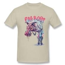 Fashion Men BIG BOSS Natural Cotton T Shirt Classical Round Neck Tees