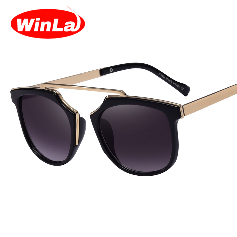 Winla Women Oval Sunglasses Reflective Mirrors Alloy Legs Popular Brand Design Vintage Summer Style Glasses Oculos de sol UV400