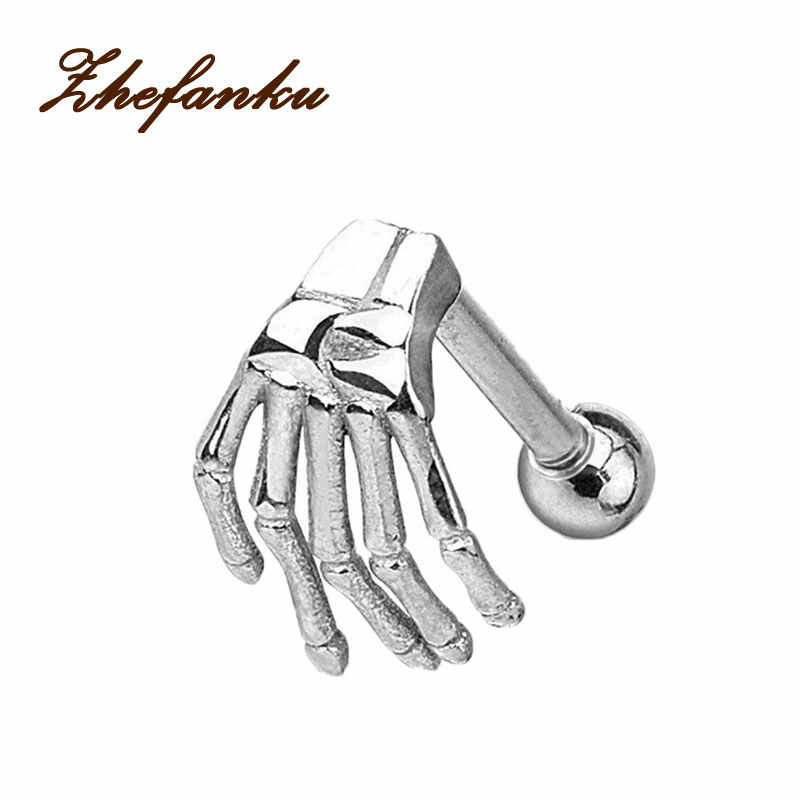 1pcs  Skeleton Ghost Hand Shape Ear Tragus Piercing Fake Taper For Men Women Body Jewelry