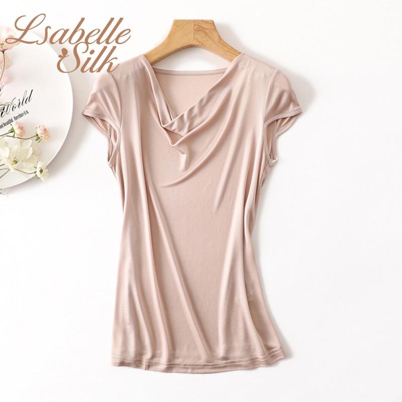 Summer 100 Natural silk modis streetwear t shirt women camiseta mujer tshirt t shirt tee shirt