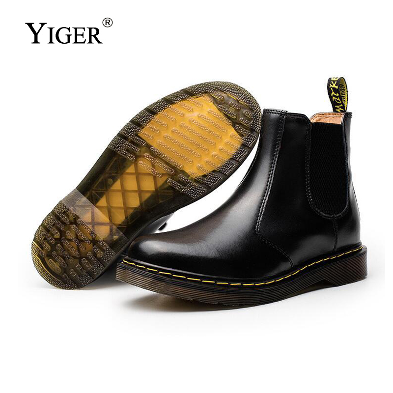 YIGER New Men Martin Boots Couples Ankle boots Men casual Shoes Slip-on Chelsea Boots Soft Leather Winter big size 38-47 0169 цены