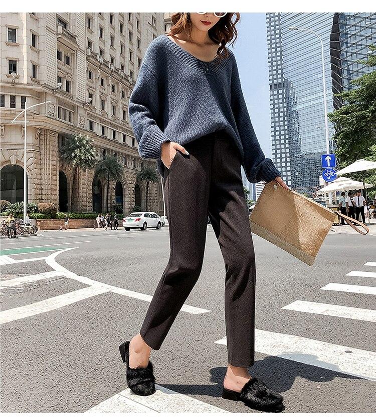19 Autumn New Women Elastic Woolen Pant Female Plus Size Casual Trousers Black/Gray Harem Pants Winter Wool Ankle-Length Pants 30