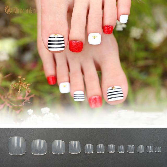 500Pcs/Lot Natural/Clear Toe Nail Tips Square Full Cover Acrylic UV ...