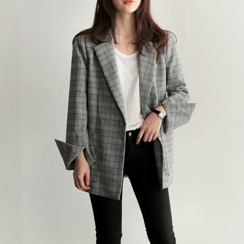 Blazer feminino 2019 new fashion retro plaid office suit fashion blazer women slim temperament jacket in Blazers from Women 39 s Clothing