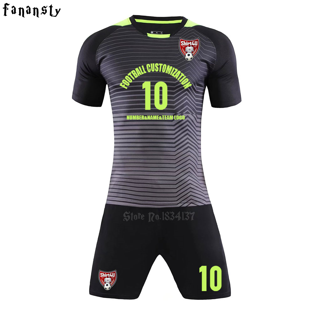 цены Top quality soccer jerseys 2017 2018 Adult customized football jerseys set kits men DIY soccer uniforms training suits new