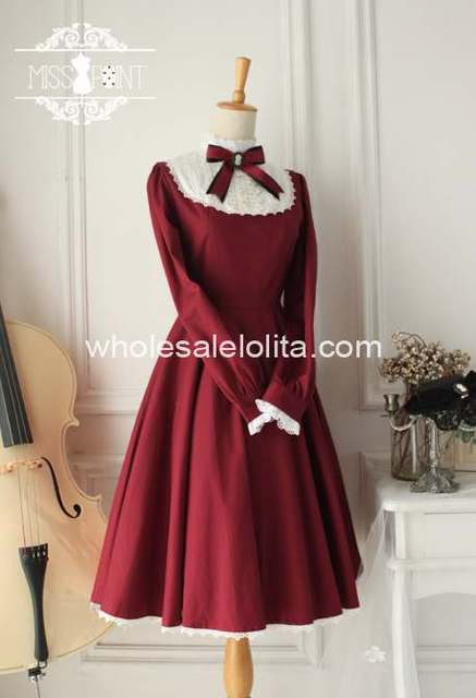High-end Vintage High Collar Burgundy Cotton Classic Lolita Dress Ball Gown Gothic Lolita Dress