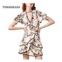 2019 Summer Sweet Print Floral V-Neck Hollow Out Ruffles Lady Mini A Line Women Butterfly Sleeve Dresses Vestidos Female Dress цена