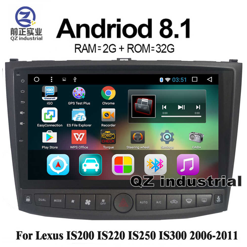 medium resolution of qz industrial hd 10 2 android 8 1 t3 car dvd player for lexus is200 is220 is250