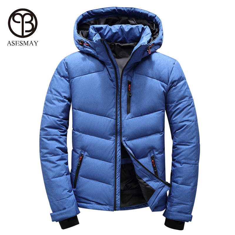 Asesmay brand high quality men down jacket casual winter mens coat hoodies goose feather warm short winter orange snow parka