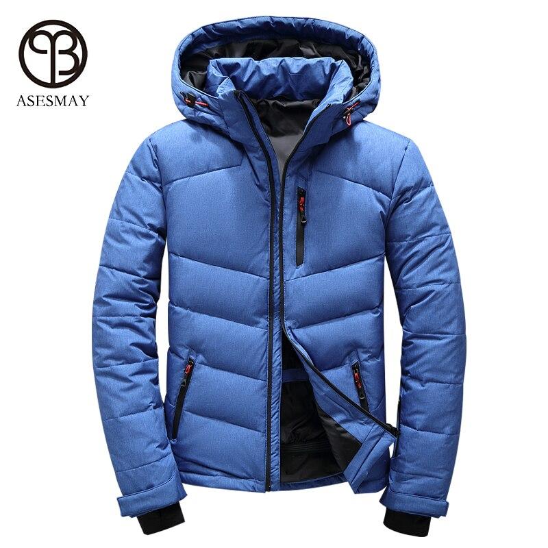 Asesmay marque haute qualité hommes doudoune décontracté hiver hommes manteau à capuche plume d'oie chaud court hiver orange neige parka