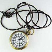 2010 New Artistic Mini Size Pocket Brass Watch Leather Chain Freeship