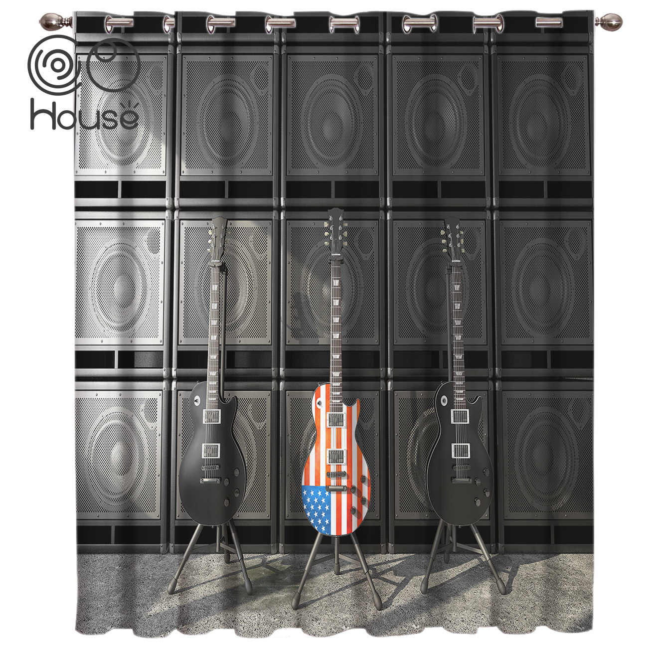 Musical Instrument Guitar American Flag Window Curtains Dark Blackout Kitchen Outdoor Bedroom Fabric Drapes Window