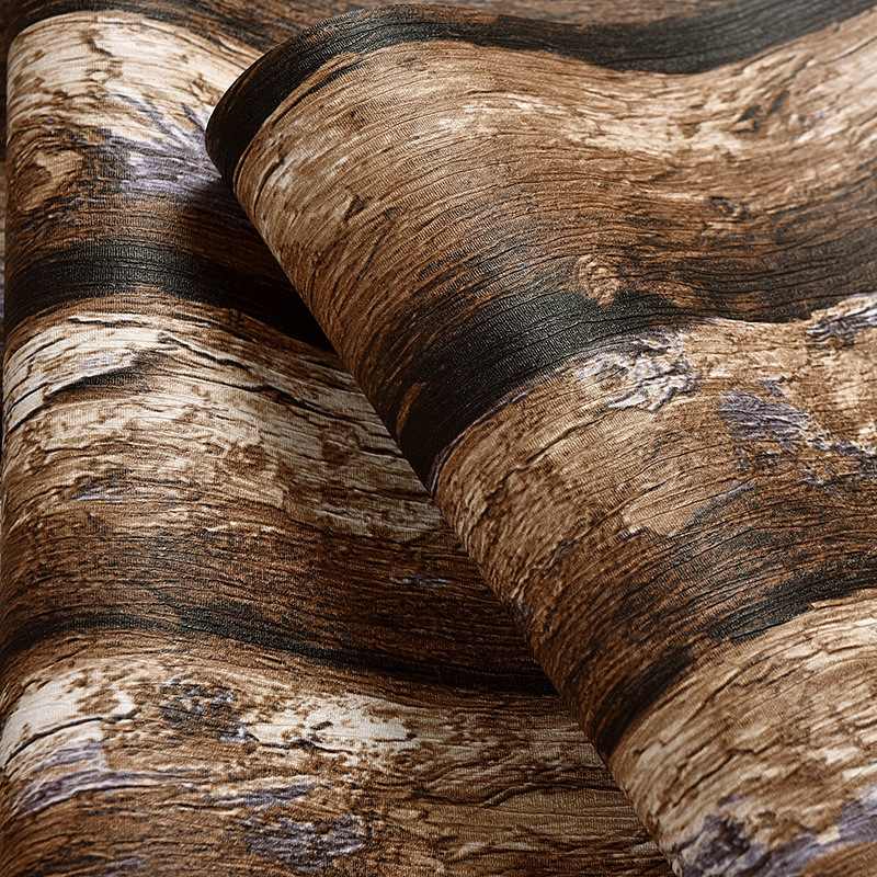 beibehang Retro Chinese imitation bark wallpaper living room study background simple three-dimensional pvc wood wallpaper beibehang 3d stereo simulation wood grain pvc thick wallpaper hotel cafe bark trunk round wood background wallpaper