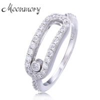 Wholesale Jewelry 925 Sterling Silver Wedding Rings For Women Platinum Plated Wedding Ring With Moved Stone